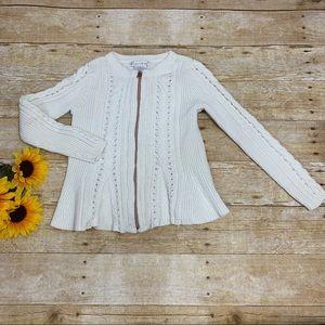 White sweater cardigan by Maggie & Zoe. Size 6x